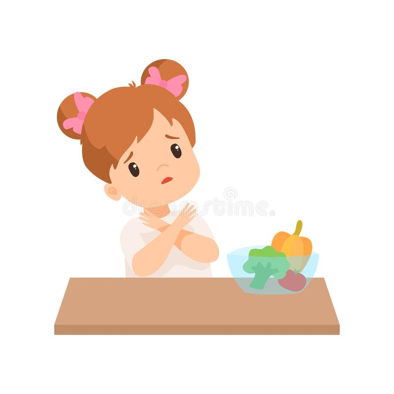 A menina bonito faz não quer comer vegetais, caçoa a recusa comer a ilustração saudável do vetor do alimento ilustração do vetor