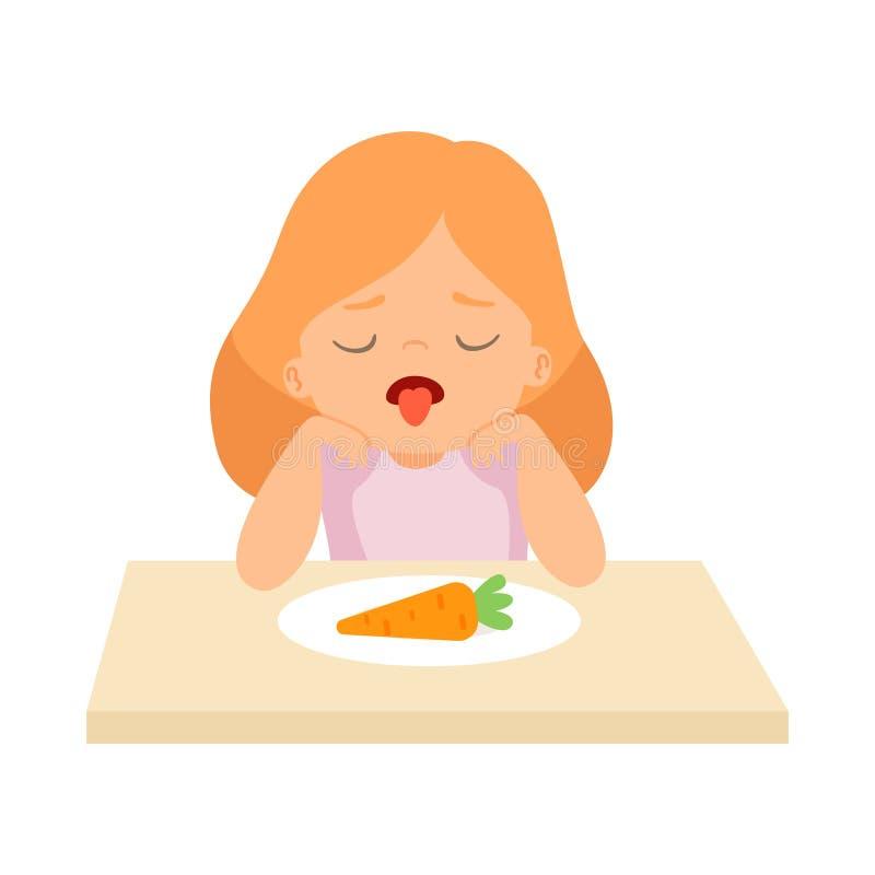A menina bonito faz para não querer comer a cenoura, criança faz não como a ilustração do vetor dos vegetais ilustração royalty free