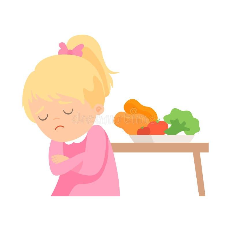 A menina bonito faz para não querer comer vegetais, criança faz não como a ilustração saudável do vetor do alimento ilustração do vetor