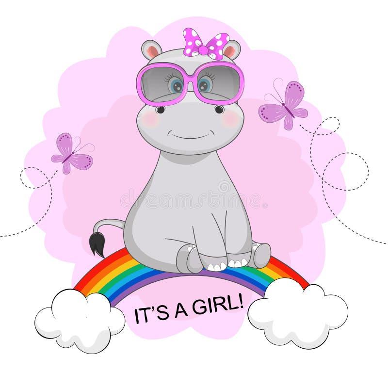 A menina bonito feliz engraçada do hipopótamo nos óculos de sol está sentando-se em um arco-íris ilustração do vetor