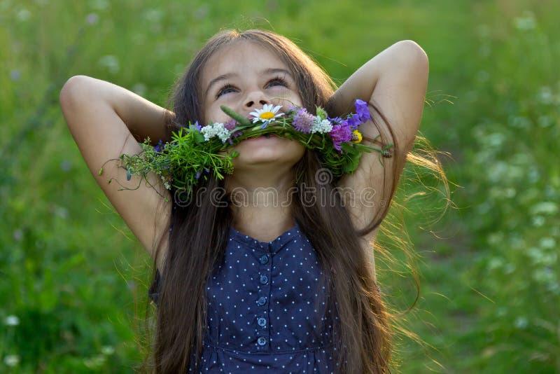 Menina bonito feliz no prado do verão fotografia de stock