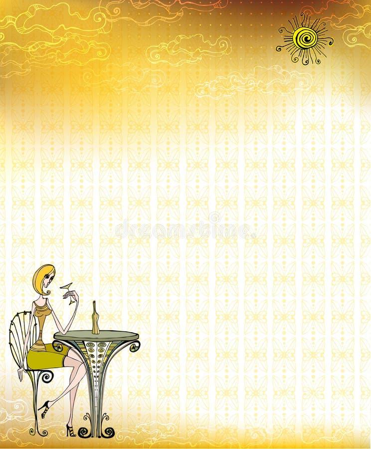 Menina bonito ilustrada ilustração do vetor