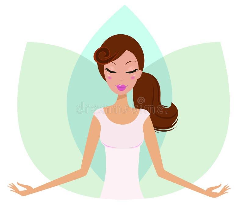 Menina bonito meditating da ioga na flor dos lótus. ilustração royalty free