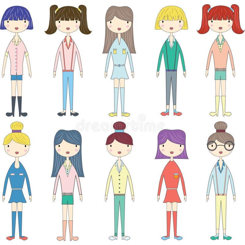 Menina bonito, meninas bonitas, grupo da menina do estilo da forma ilustração stock