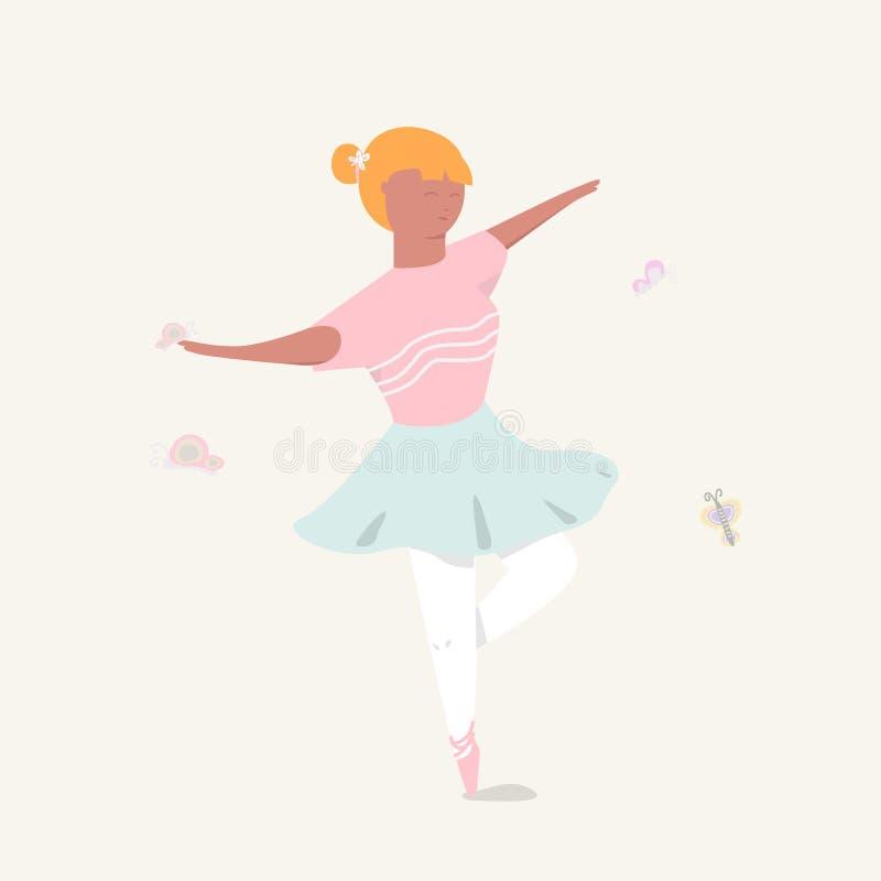 Menina bonito na camisa cor-de-rosa e na saia azul, dança da bailarina desenhos animados e ilustração ilustração do vetor