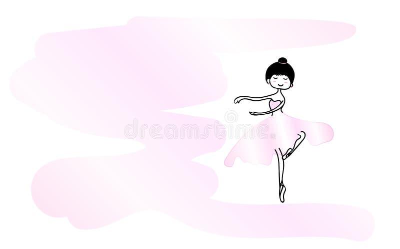 Menina bonito na ilustração cor-de-rosa do vetor da saia da bailarina na cor cor-de-rosa cart?o ilustração royalty free