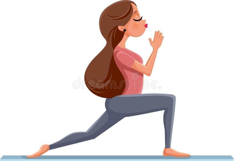 Menina bonito na ilustração da pose da ioga ilustração royalty free