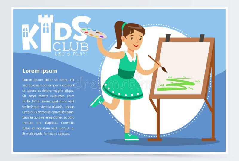 Menina bonito na pintura verde do vestido na lona Cartaz azul criativo para o clube das crianças Estudo na classe de arte Extra-c ilustração stock