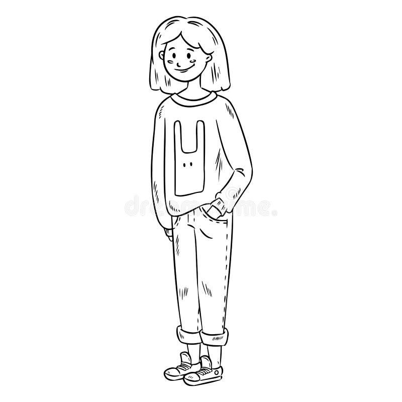Menina bonito na roupa ocasional Imagem do vetor da menina bonita do adolescente ilustração stock