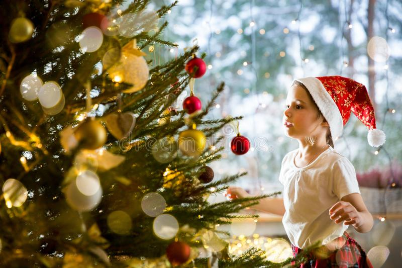 Menina bonito no chapéu de Santa e na saia de manta vermelhos que decora a árvore de Natal em casa imagens de stock royalty free
