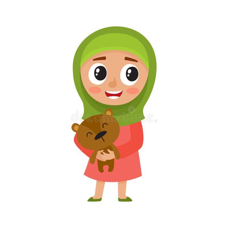A menina bonito no hijab verde mantém o urso isolado no branco ilustração do vetor