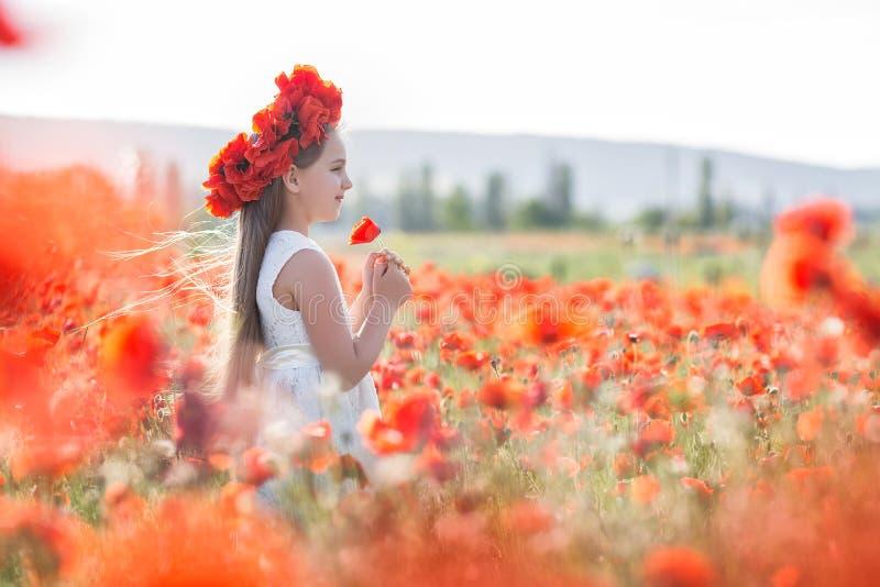 Menina bonito no prado de papoilas vermelhas no dia de mola fotografia de stock