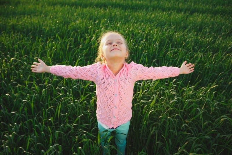 Menina bonito no prado no dia de verão foto de stock royalty free