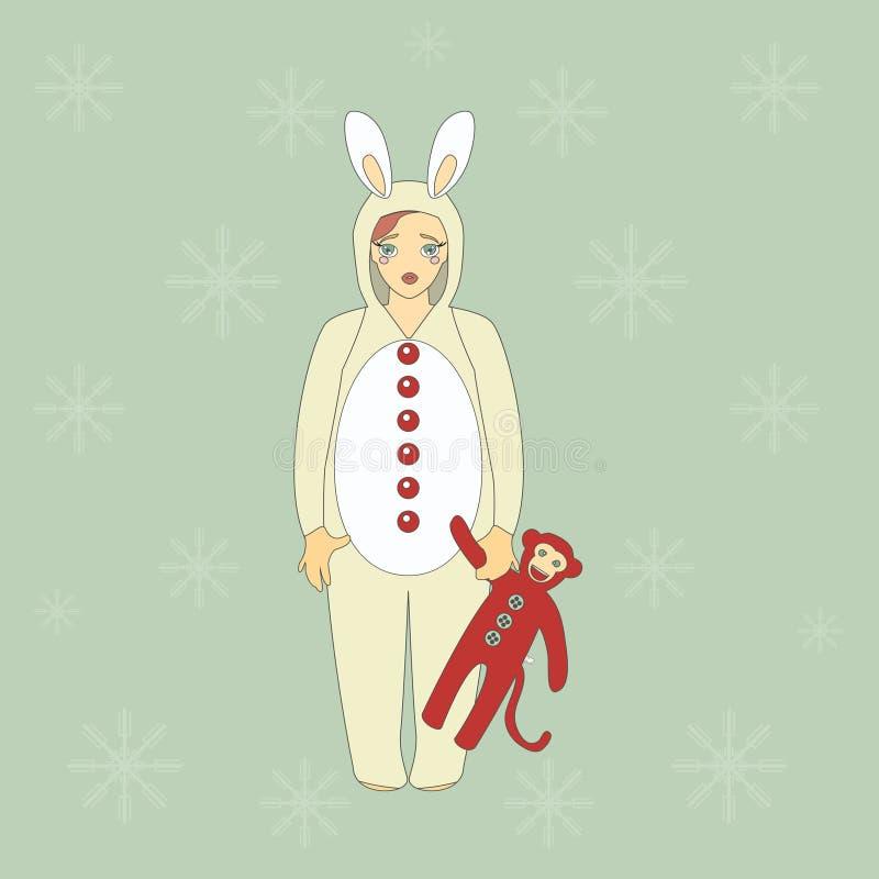 Menina bonito no terno de um coelho ilustração do vetor