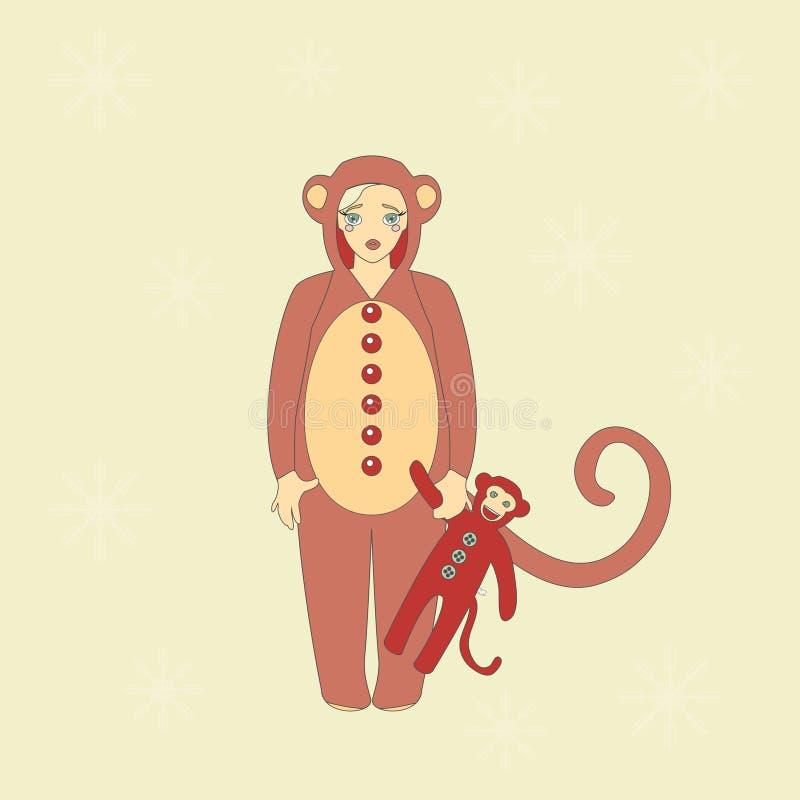 Menina bonito no terno de um macaco ilustração royalty free