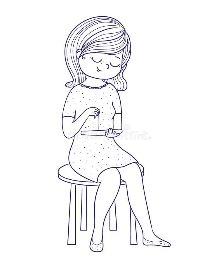 Menina Bonito Para O Livro Para Colorir A Menina Senta Se Em Uma