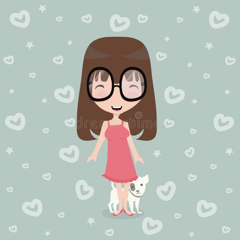 menina bonito pequena com cão ilustração royalty free