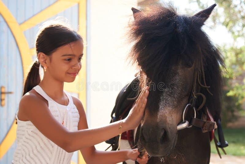 Menina bonito pequena que abraça seu pônei do cavalo foto de stock