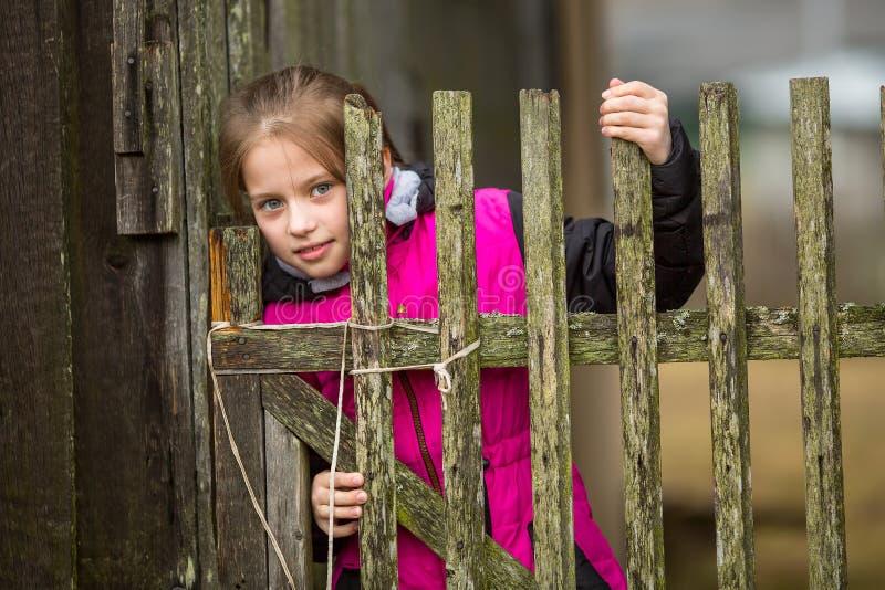 Menina bonito pequena que está atrás de uma cerca na vila imagem de stock