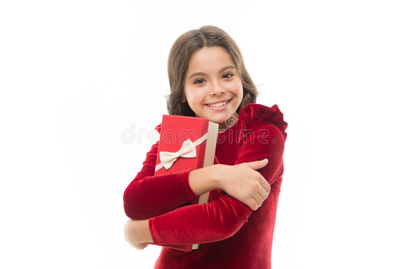 A menina bonito pequena recebeu o presente de época natalícia Enjoy que recebe presentes Os melhores brinquedos e presentes do Na imagens de stock