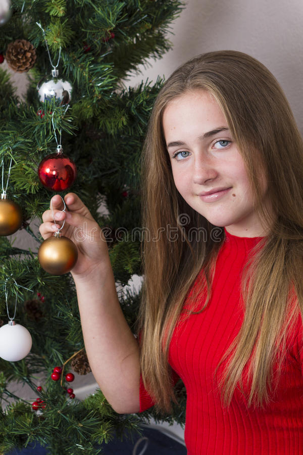 Menina bonito perto da árvore do ano novo imagens de stock