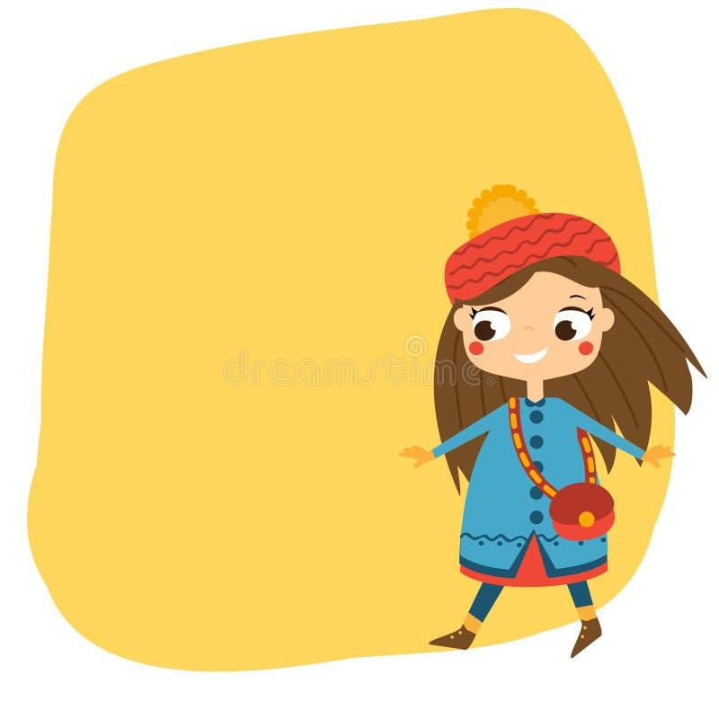 Menina bonito que anda na roupa do outono O fundo sazonal, a bandeira para crianças e as crianças projetam ilustração do vetor