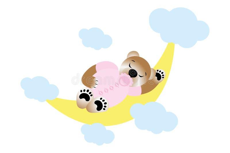 Menina bonito que dorme na meia lua - bebê novo da peluche ilustração royalty free