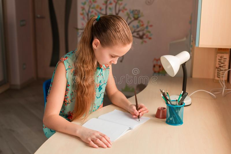 Menina bonito que escreve lhe trabalhos de casa fotos de stock