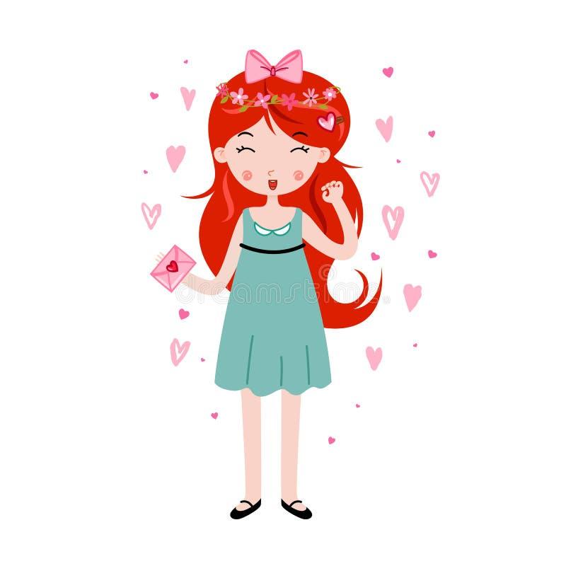 Menina bonito que guarda a carta de amor Molde para o cartão do dia de Valentim, o cartaz, etc. ilustração royalty free