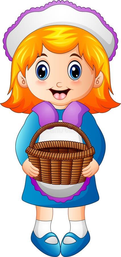 Menina bonito que guarda uma cesta ilustração royalty free