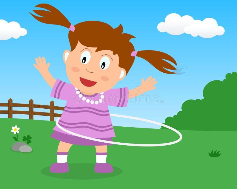 Menina bonito que joga com a aro de Hula no parque ilustração royalty free