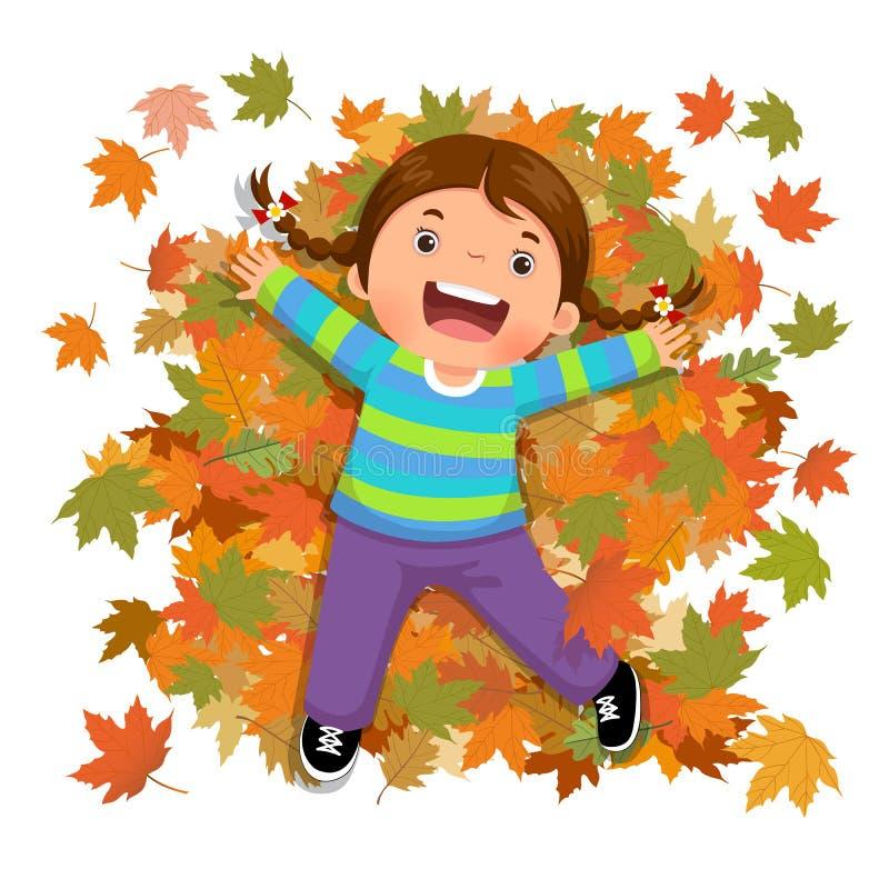 Menina bonito que joga com folhas de queda ilustração stock