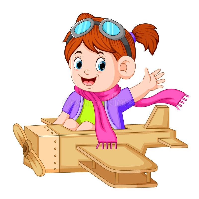 Menina bonito que joga com o brinquedo do avião ilustração royalty free