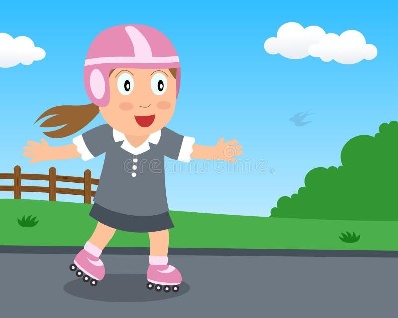 Menina bonito que joga com o Rollerblade no parque ilustração royalty free