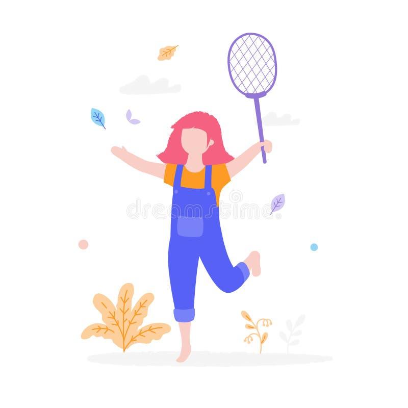 Menina bonito que joga o badminton fora no parque isolado no fundo branco Conceito da atividade das crianças, verão liso ilustração do vetor