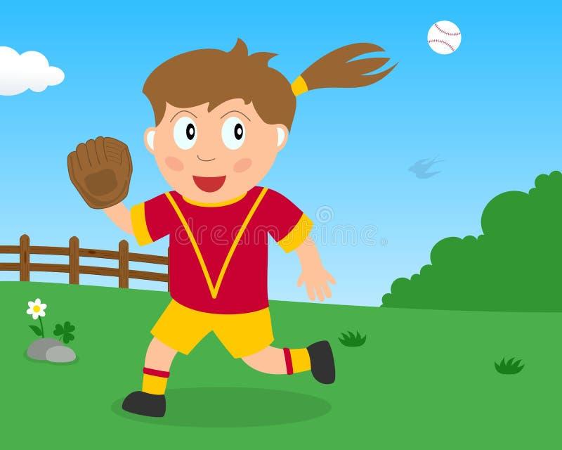 Menina bonito que joga o softball no parque ilustração royalty free