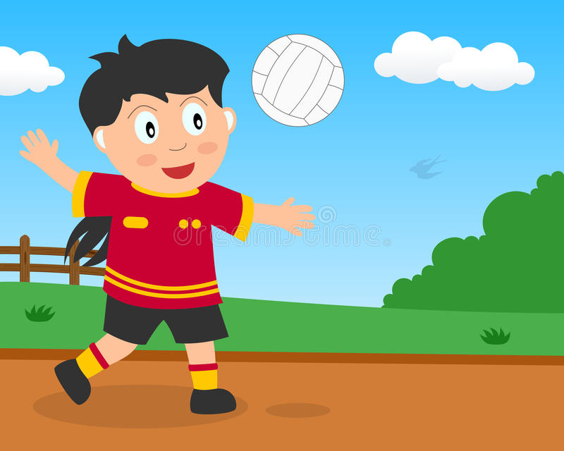 Menina bonito que joga o voleibol no parque ilustração royalty free