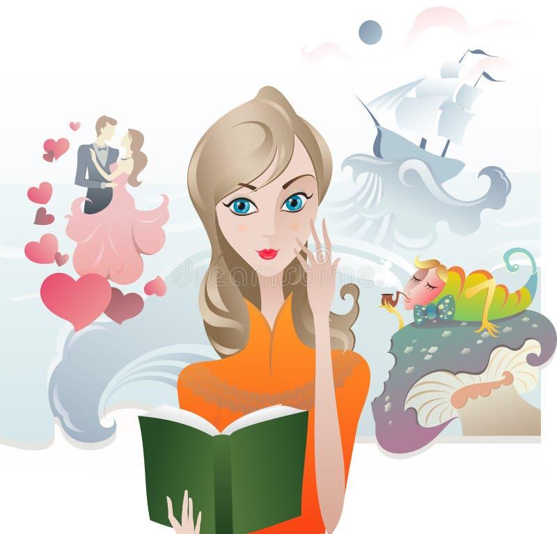 Menina bonito que lê um livro ilustração royalty free