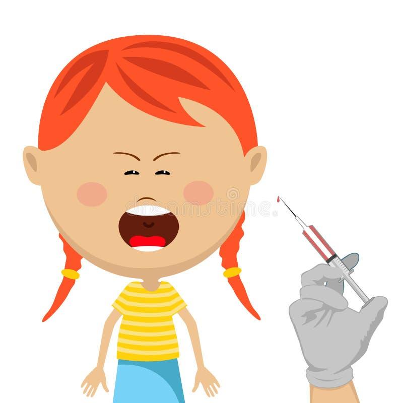 Menina bonito que obtém o grito da vacinação ilustração royalty free