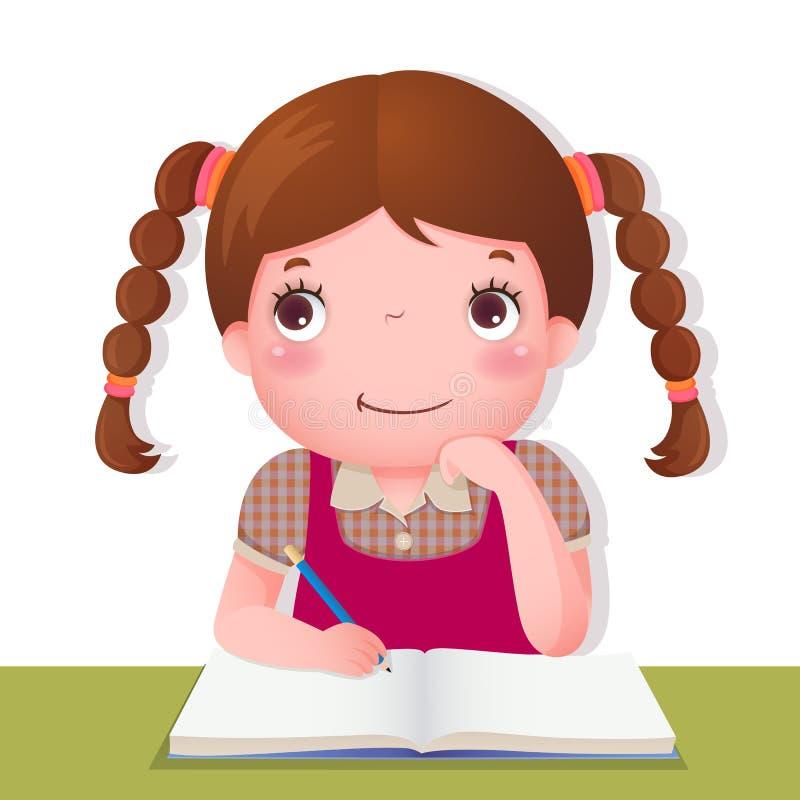 Menina bonito que pensa ao trabalhar em seu projeto da escola ilustração royalty free