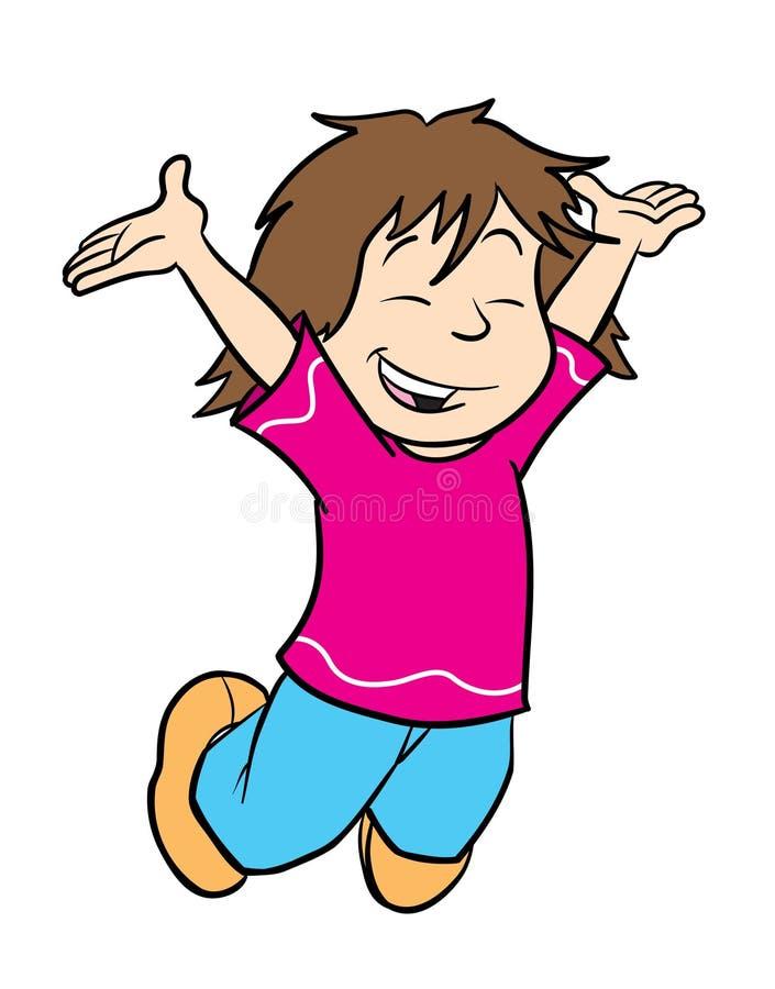 Menina bonito que salta para a alegria ilustração do vetor