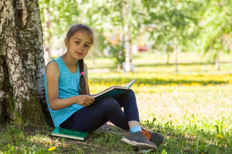 Menina bonito que senta-se em uma grama verde no parque do verão e que guarda o livro aberto em suas mãos foto de stock