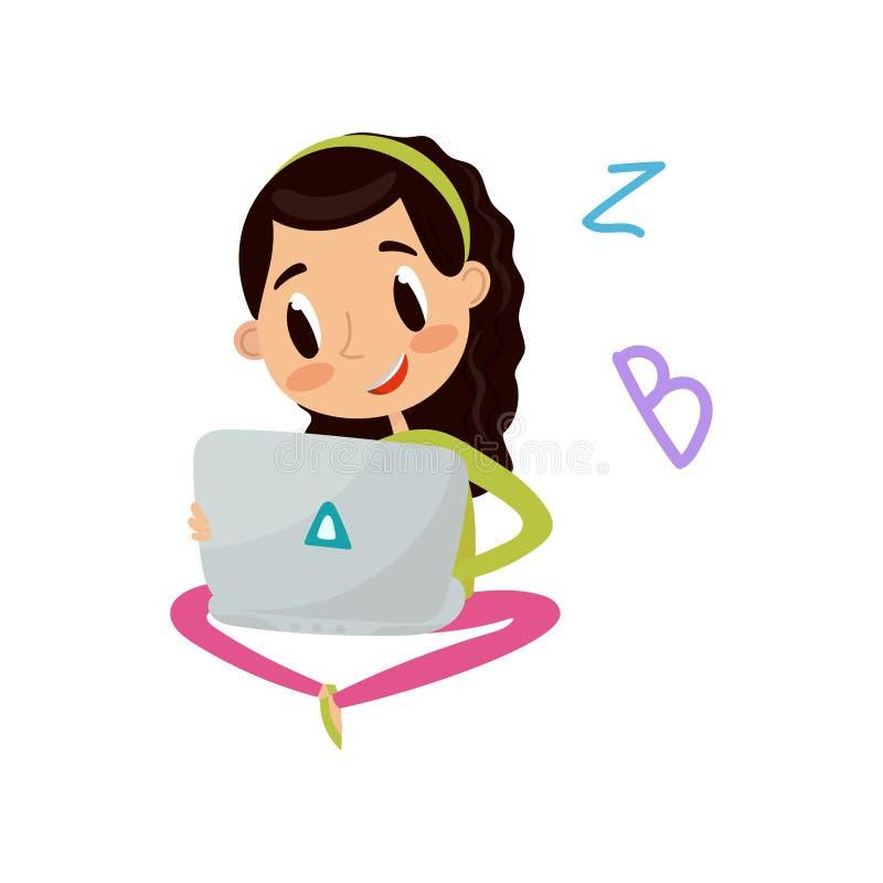 Menina bonito que senta-se no assoalho com conceito do laptop, da educação e do conhecimento, vetor colorido do personagem de ban ilustração do vetor