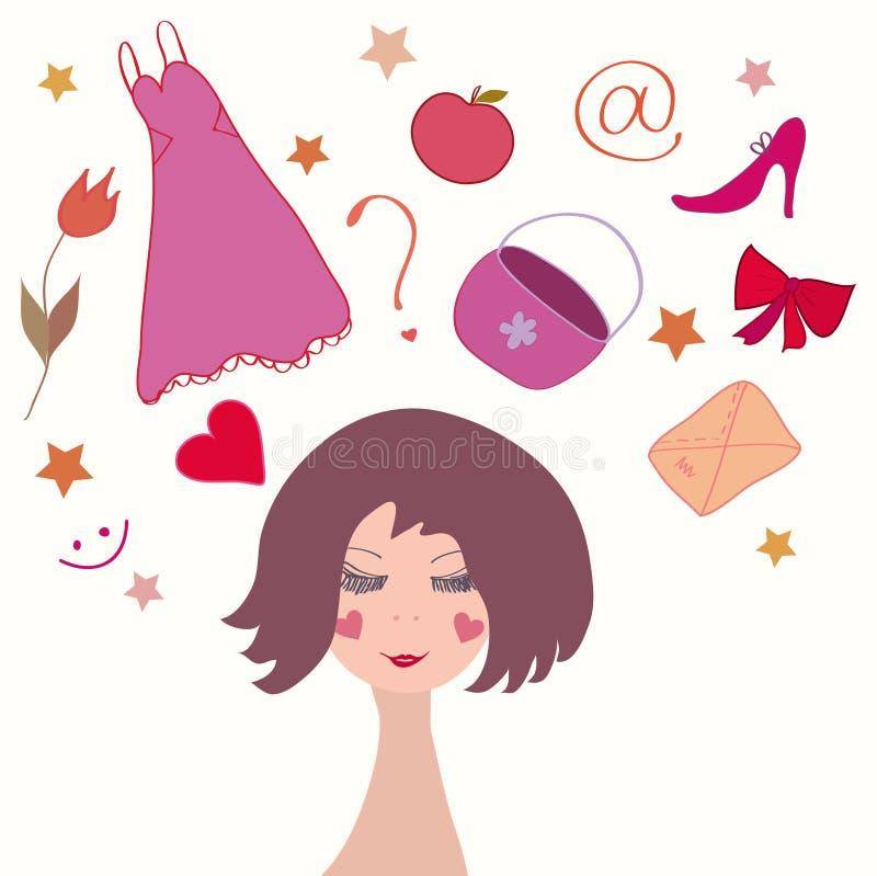 Menina bonito que sonha sobre suas coisas da vida ilustração royalty free
