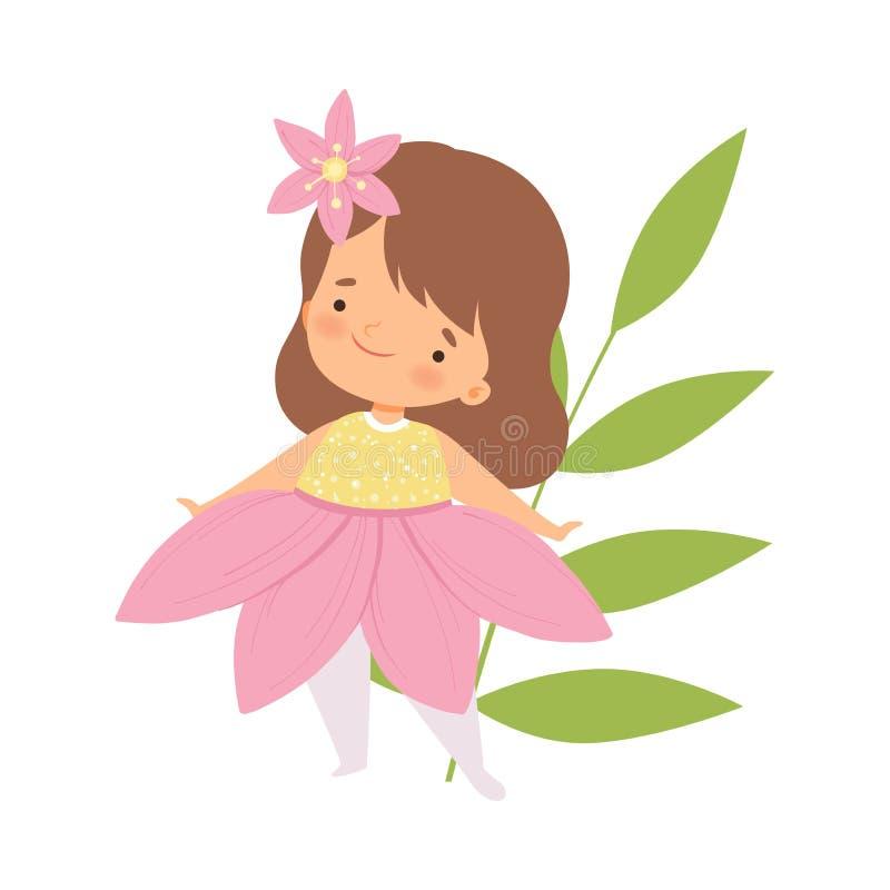 A menina bonito que veste o traje cor-de-rosa da flor, criança adorável no carnaval veste a ilustração do vetor ilustração do vetor
