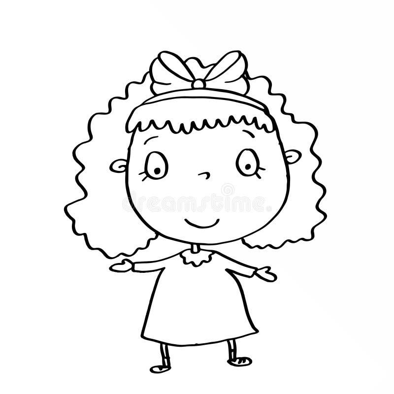Menina bonito que veste o vestido cor-de-rosa e colorir ilustração stock
