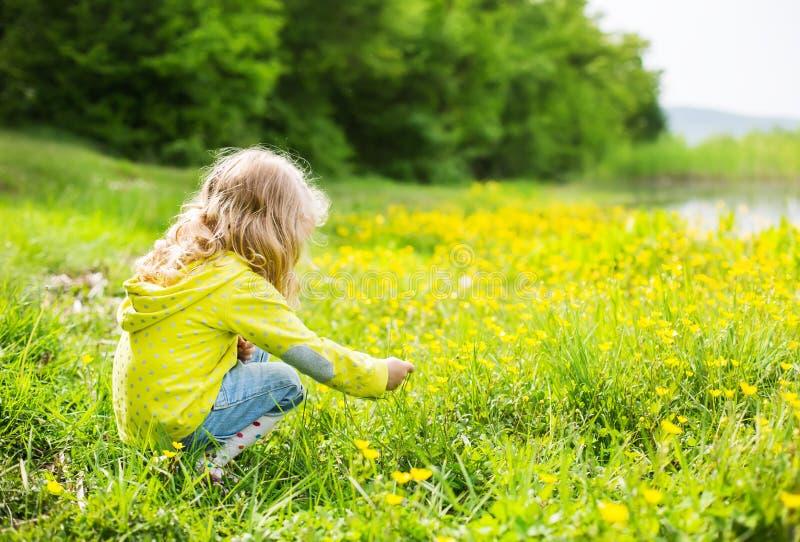 A menina bonito vomita flores amarelas foto de stock royalty free
