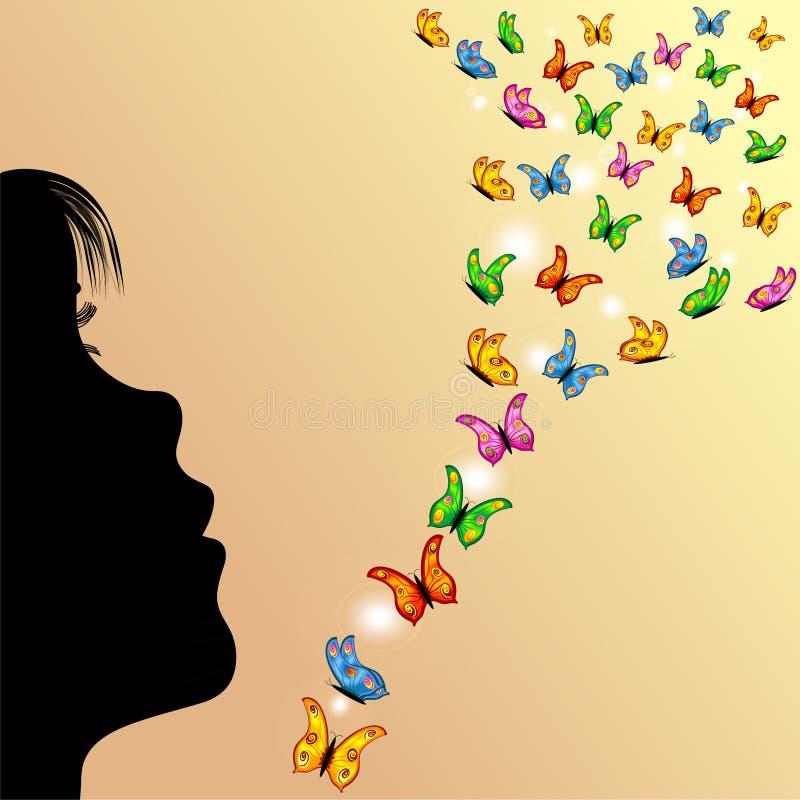 Menina, borboletas e céu amarelo ilustração royalty free