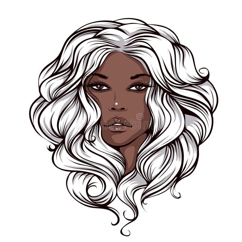 Menina bronzeada moreno da cara bonita ilustração stock