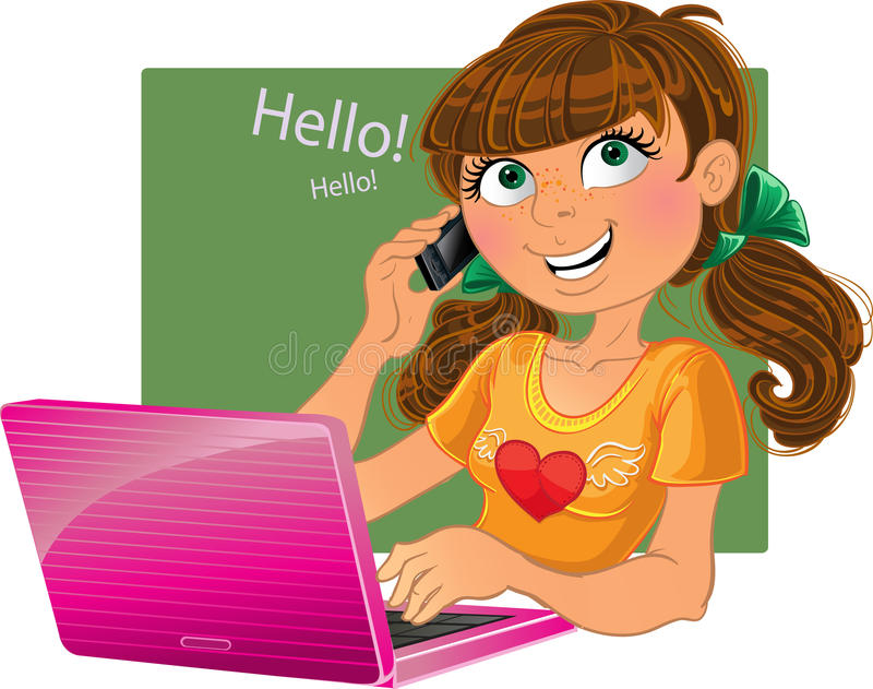 Menina Brown-haired com telefone e o portátil cor-de-rosa ilustração do vetor